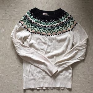 Green, beige and black collared long sleeve